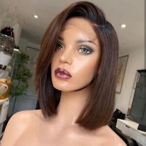 8A 150 Density Unprocessed Brazillian Bob 1b/brown 4x4 Closure Human Hair Wig