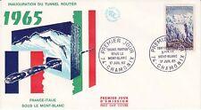 Enveloppe 1er jour FDC 1965 - France Italie sous le Mont Blanc Le tunnel