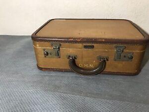 Original Vintage Oshkosh Leather Suitcase 1930s.