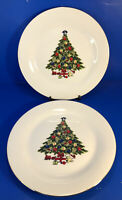 "Set Of 2 Sea Gull Fine China Christmas Tree 10.25"" Dinner Plates"