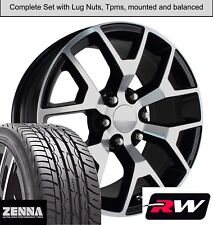 """22 x9"""" inch Wheels and Tires for Chevy Suburban Replica 5656 Black Machined Rims"""