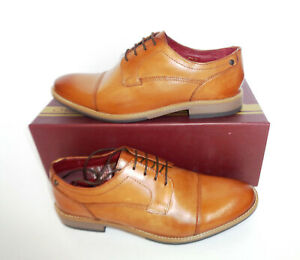 Base London Mens Leather Tan Derby Lace Formal Shoes New RRP £80 UK Sizes 5 6 7