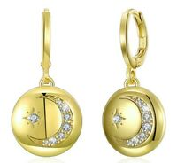 Cresent Moon Celestial Drop Earring in 14k Yellow Gold ITALY 1.14""