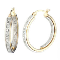 Yellow Gold Plated Sterling Silver Diamond Hoop Earrings (1/5 cttw)