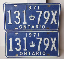 "Ontario License Plate 1971 ""131 79X"" Matching Pair Vintage Metal Car Garage Sign"