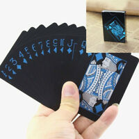 54x Waterproof PVC Playing Cards Set Cool Black Poker Table Cards Classic Magic