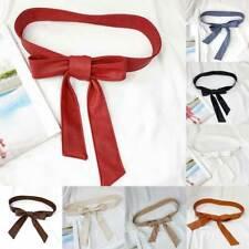 Female Fashion Belt Soft Leather Elegant Bow Knot Tie Wrap Waist Belt Dress Belt