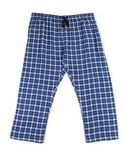 Hanes Mens Sleepwear Blue Size 4XLT Plaid Print Drawstring Lounge Pants- 294