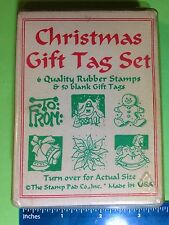 6 CHRISTMAS GIFT TAG wood-mounted rubber stamps and gift tags by The Stamp Pad