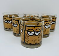 Set of 6 Vintage Mid Century Libbey M Petti Owl Drinking Tumbler Glasses Barware