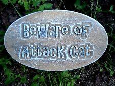 Plaster Concrete Beware of Attack Cat plaque Mold mould