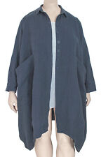 CHEYENNE S/M Linen Cotton Coat / Jacket Up To US 18 - Blue Gray Color $190 NWT