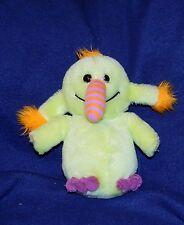 """9"""" Vtg Russ Berrie GAG LOO Lime Green Orange Purple Monster Alien Plush 1979"""