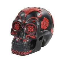 5.5 Inch Black and Red Floral Day of The Dead Skull Statue Figurine