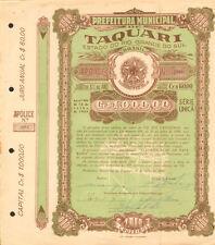 Taquari Estado do Rio Grande do Sul > 1960 Brasil Brazil bond certificate
