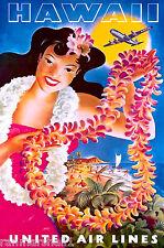 Hawaii Hawaiian Island Girl & Lei Ocean Beach U.S.Travel Advertisement Poster