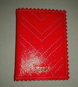 VICTORIA'S SECRET Leather Passpor / Credit Card / ID Holder Red,  Gold Logo