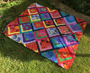 Stunning Large HANDMADE UNFINISHED QUILT TOP Bright colours