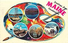 Greetings from Maine ME Vacationland pm 1977 paint pallet Postcard