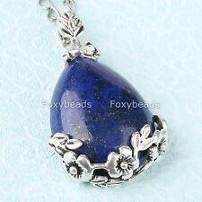 1P Natural Lapis Lazuli Gemstone Bead Teardrop Flower Focal Pendant fit Necklace