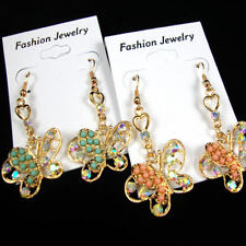 BUTTERFLY EARRINGS W/ AB CRYSTAL STONES & COLORED MINI  BEADS/ GOLD OR SILVER