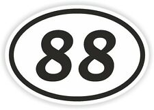 88 EIGHTY-EIGHT NUMBER OVAL STICKER bumper decal motocross motorcycle Aufkleber