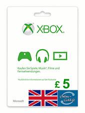 Xbox Live Card - 5 GBP Microsoft £5 Guthaben - ms Xbox 360 / Xbox One 5 Pound