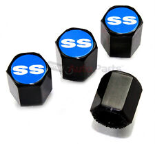 (4) Chevrolet SS Blue Logo Black ABS Tire/Wheel Pressure Stem Air Valve CAPS