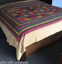 Queen/King Bedspread  Handmade Indian Patchwork Red Pink Blue Throw Bed Cover