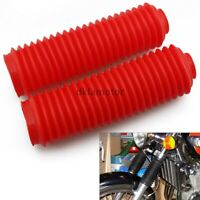 Pair Red Motorcycle Rubber Front Fork Gaiters Dust Cover Gators Boots Universal