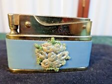 Vintage Bomart Blue Leather Wrapped Brass Lighter w/Applied Flowers