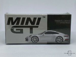 Mini GT Porsche 911 (992) Carrera S GT Silver Metallic #210 LHD 1:64 1/64 Scale