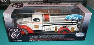 1940s Pumper Firetruck 1/16 Highway 61 Ford Diecast New Never Out Of Box