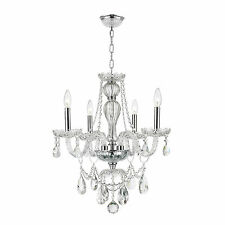 "4-Light Chrome Finish 23"" x 25"" Thor Clear Crystal Candle Chandelier Light"