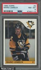 1985 Topps Hockey #9 Mario Lemieux Pittsburgh Penguins RC Rookie HOF PSA 8