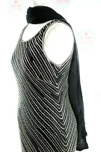 Planet Long Black Beaded Embellished evening Gatsby Party Cruise Gown Size 12