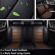Black+Coffee Full Set Leather Car Seat Cover Front Rear Seat Cushion Protector