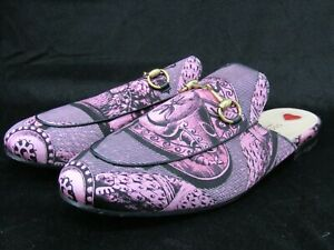 Gucci Princetown St. Romain Women's Pink Silk Satin Leather Horsebit Mules 41