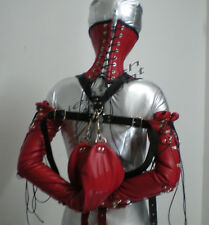 Real Cow Leather Double Glove Armbinder+Over Mouth Neck Corset Red