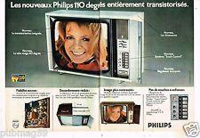 Publicité Advertising 1974 (2 pages) Téléviseur Télévision Philips 110 Degrés