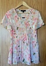 NWT~ GNW Pleated Bohemian Top ~ Size Medium ~ Floral Pinks ~ Petal Sleeves