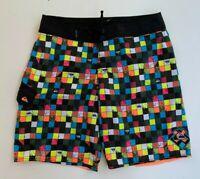 QUIKSILVER men's multi colour check board surf beach casual shorts size 34