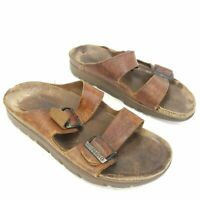 Mephisto Brown Leather Sandals Double Buckle Straps Casual Shoes Mens Size 11