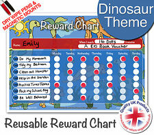 Dinosaur Kids Childs Reusable Reward Chart - 2 Dry Wipe Pens & Magnetic Mounts