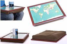 WORLD TRAVELER MAP CUSHION PADDED PORTABLE READING LAP TOP TRAY TABLE BREAKFAST