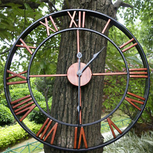 Large Outdoor Antiue Garden Wall Clock Big Roman Numerals Giant Open Face  ↻  ✯