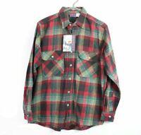 NOS Vintage Dakota Mens Medium Thick Flannel Plaid Button Work Shirt Red Cotton
