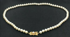 18k yellow gold   5-6mm AAAA natural white akoya pearl necklace 18 inch
