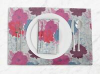 S4Sassy Carnation Floral Everyday Placemats With Napkins Table Decor-FL-79A