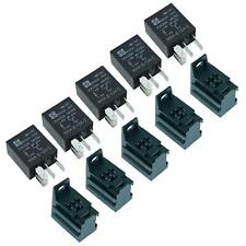 5 x 12V Micro Automotive Changeover Relay 30A 5-Pin SPDT + Holder Socket